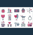 saint valentine 14 february day line icons vector image vector image