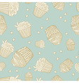 Seamless pattern with muffins and coffee beans vector image vector image