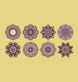 set 8 circle paisley pattern to winter vector image