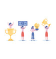set businesswomen with cup prize and bill vector image vector image