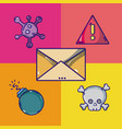 set of virus and cybercrime cartoons vector image