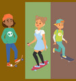 skateboard characters banner stylish vector image vector image