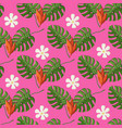 tropical pattern with monstera leaves and flowers vector image vector image
