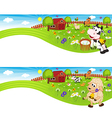 two banners with farm animals in barnyard vector image vector image