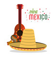 viva mexico card lettering guitar hat maracas vector image vector image