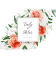 wedding floral invite card with ivory flowers vector image