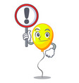 with sign yellow balloon cartoon in shape vector image