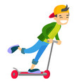 young caucasian white boy riding a kick scooter vector image vector image