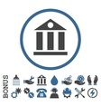 Bank Building Flat Rounded Icon With Bonus vector image