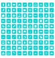 100 war icons set grunge blue vector image vector image