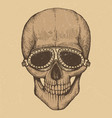 biker style hand drawn human skull vector image
