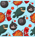 bomb dynamite fuse seamless pattern vector image vector image