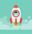 businessman in launching rocket start up concept vector image vector image