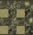 camouflage with tropical leaves and leopard skin vector image vector image