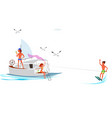 cartoon friend spending fun time on yacht vector image vector image