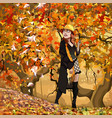 cartoon woman walking in the autumn forest vector image vector image