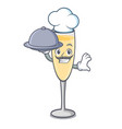 chef with food champagne mascot cartoon style vector image