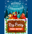 christmas and new year holiday party poster vector image vector image