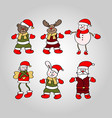 christmass santa bear and angel in red hat set vector image