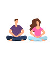 couple in meditation young man woman relaxing vector image vector image