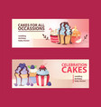 cupcake poster design bakery cake dessert card vector image vector image