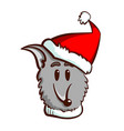 cute dog in santas hat vector image