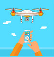 drone control via phone quadcopter aerial wit vector image