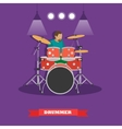 Drummer musician playing drums vector image vector image