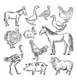 farm animals set in hand drawn style vector image vector image