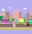 flat design evening urban landscape vector image