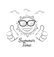 funny summer sun with thumb up vector image vector image