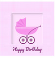 greeting card with baby stroller vector image vector image