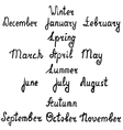 Hand-written names of seasons and months vector image