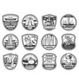 japanese travel culture sport and religion icons vector image vector image