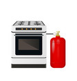 kitchen stove with a red gas cylinder vector image vector image