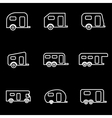 line trailer icon set vector image vector image
