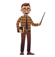 male teacher artoon character standing isolated on vector image vector image