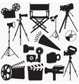 movie equipment silhouettes vector image vector image