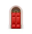 Old red door isolated on white vector image