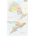 ontario administrative and political map vector image vector image