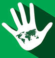 Palm Hand with World Map on Green Background vector image vector image