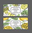 pineapple mango labels design sketch vector image