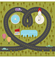 road in shape heart vector image vector image
