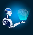 robot cybernetic holds smartphone virtual reality vector image vector image