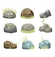 Rocks with grass stones and green grass on white vector image