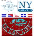 sailing club t shirt design vector image