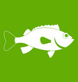 sea bass fish icon green vector image vector image