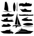 sea ship silhouettes boats adapted to the open vector image