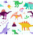 seamless cartoon dinosaurs pattern babackground vector image vector image