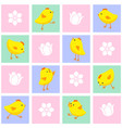 seamless eastern pattern with chickens and flowers vector image vector image